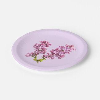 Placa de papel - flor de la lila plato de papel de 7 pulgadas