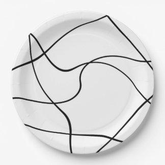"""Placa de papel - """"líneas abstractas"""" - blanco y plato de papel de 9 pulgadas"""