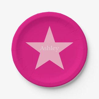 Placa de papel personalizada de la estrella rosada plato de papel de 7 pulgadas
