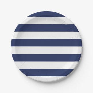 Placa de papel rayada azul y blanca náutica platos de papel