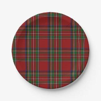 Placa de papel real de la tela escocesa de tartán plato de papel de 7 pulgadas