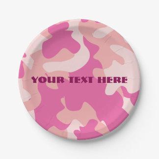 Placa de papel rosada de Camo Platos De Papel