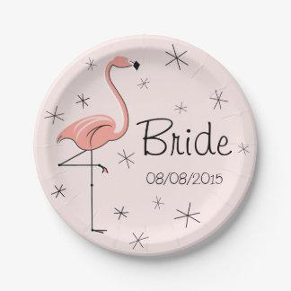 Placa de papel rosada de la novia y de la fecha plato de papel de 7 pulgadas