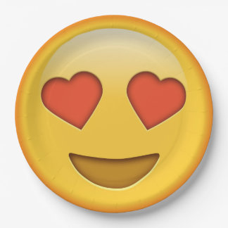 Placa de papel sonriente del emoji divertido plato de papel de 9 pulgadas