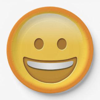 Placa de papel sonriente del emoji divertido platos de papel