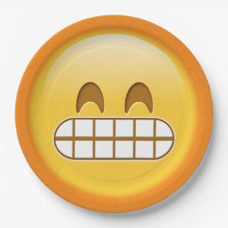 placa de papel sonriente del emoji enojado, gruñón plato de papel de 9 pulgadas