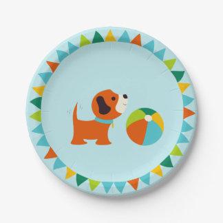 Placa de papel v2.0 del cumpleaños del perrito plato de papel 17,78 cm