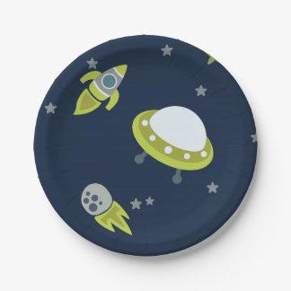 Placa de papel verde y azul del espacio exterior platos de papel