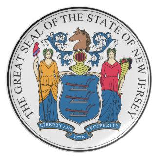 Placa de pared decorativa del escudo de New Jersey Plato De Comida
