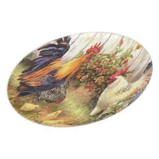Placa de pared francesa de la gallina del gallo de plato para fiesta
