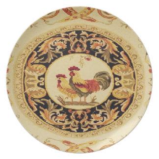 Placa de pared francesa de los gallos del país del plato de cena