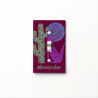 Placa de pared personalizada del arte del lobo del tapa para interruptor