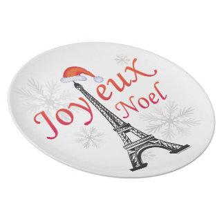 Placa de París Joyeux Noel Platos De Comidas