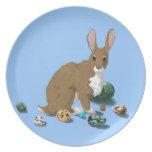 Placa de Pascua: Conejito de pascua con los huevos Platos