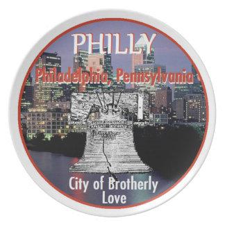 Placa de Philadelphia Pennsylvania Plato De Cena