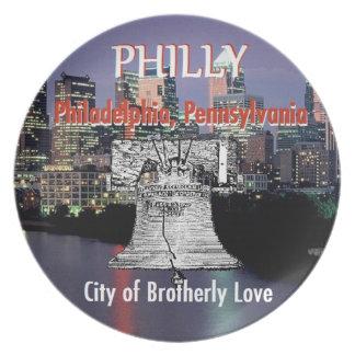 Placa de Philadelphia Pennsylvania Plato Para Fiesta