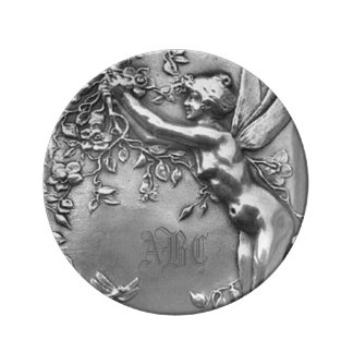 Placa de plata de hadas de señora Monogram Antique Plato De Cerámica