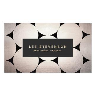 Placa de plata elegante elegante del negro del tarjetas de visita