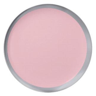 Placa de plata y rosada platos para fiestas