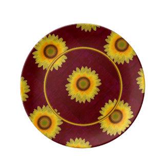 Placa de Porcelin del remiendo del girasol Platos De Cerámica