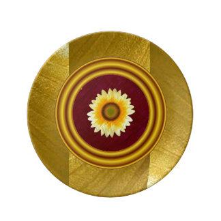 Placa de Porcelin del remiendo del girasol Plato De Cerámica