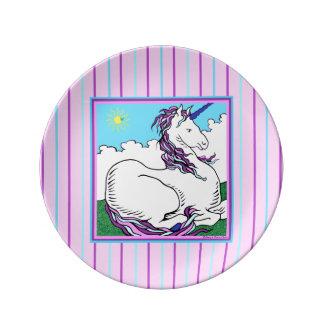 """""""Placa de Porcelin del unicornio del arco iris"""" Plato De Cerámica"""