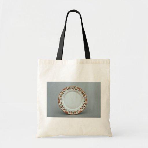 Placa de postre con diseños florales coloridos bolsa de mano