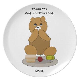 Placa de rogación del oso de peluche de la toleran platos de comidas