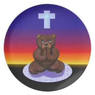 Placa de rogación del oso de peluche plato de comida