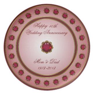 Placa de rubíes del aniversario de boda plato de cena