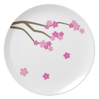 """Placa de Sakura de las flores de cerezo que caen"""" Plato"""