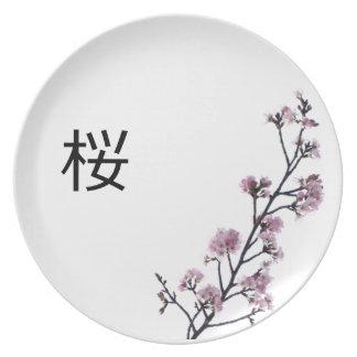 Placa de Sakura Plato De Comida