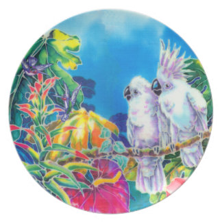 Placa de seda de la pintura de los pájaros del amo plato para fiesta