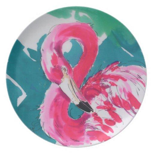 Placa de seda de la pintura del flamenco de las ro platos