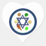 Placa de Seder del Passover Pegatina En Forma De Corazón