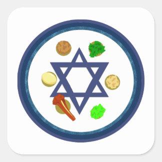 Placa de Seder del Passover Pegatina Cuadrada