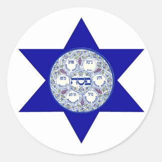 Placa de Seder en la estrella de David Pegatina Redonda