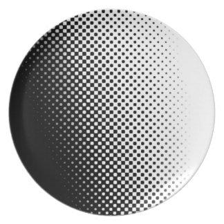 Placa de semitono blanco y negro del modelo platos