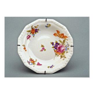 Placa de sopa del siglo XIX, Rosenthal, flowe de Invitación 12,7 X 17,8 Cm