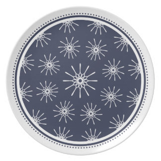 Placa de Starburst - azul de medianoche Plato De Cena