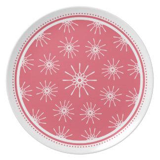 Placa de Starburst - rosa de la frambuesa Plato De Cena