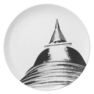 Placa de Stupa Plato De Cena