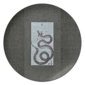 Placa de Sumi-e de la serpiente/de la serpiente Plato De Cena