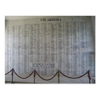 Placa de USS Arizona Tarjetas Postales