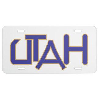 Placa de Utah Placa De Matrícula