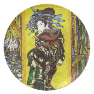 Placa de Van Gogh Japonaiserie Oiran Plato De Comida