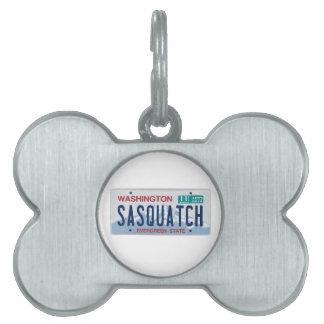 Placa de Washington Sasquatch Placas De Nombre De Mascota