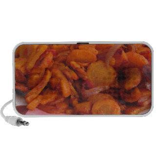 Placa de zanahorias stir-fritas iPod altavoces