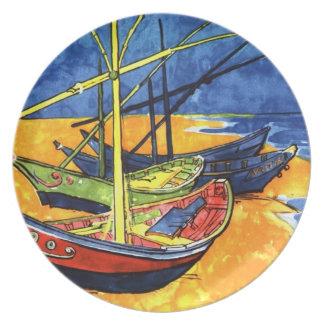 Placa de Zazzle del diseño de la pintura del barco Plato Para Fiesta