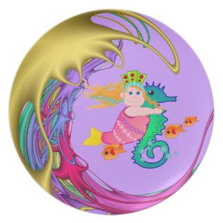 Placa decorativa artística con la sirena platos para fiestas